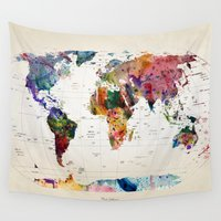 abstract Wall Tapestries featuring map by mark ashkenazi