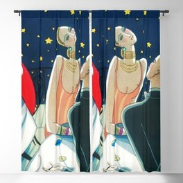 The Woman in Red & Stars, Art Deco - Haute Couture NYC Portrait Painting Blackout Curtain