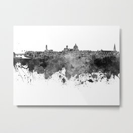 Florence skyline in black watercolor on white background Metal Print