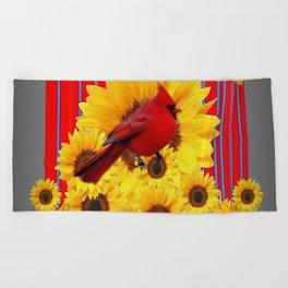 YELLOW SUNFLOWERS RED CARDINAL GREY  ART Beach Towel