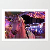 carousel Art Prints featuring Carousel by Ellie Rose Flynn