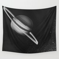 saturn Wall Tapestries featuring Saturn by Miki Draw