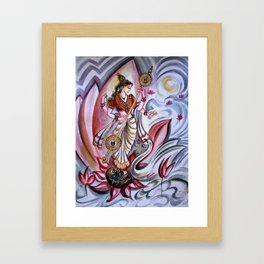 Musical Goddess Saraswati - Healing Art Framed Art Print