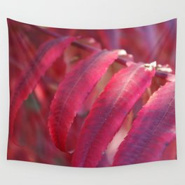 Radiant Red Sumac Leaves Wall Tapestry