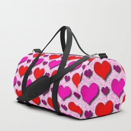 Love Hearts Pattern With Pink Fuzzy Background Duffle Bag