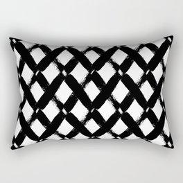 Black and White Criss Cross Pattern Modern Contemporary Rectangular Pillow