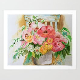 Flowers on a Chippy Chair Art Print