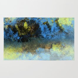 Bright Blue and Golden Pond Rug