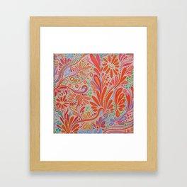 Fall Orange ~Ornate Flowers Framed Art Print