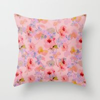 girly Throw Pillows featuring girly floral by clemm