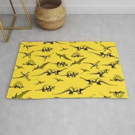 Dinosaurs on yellow background Rug
