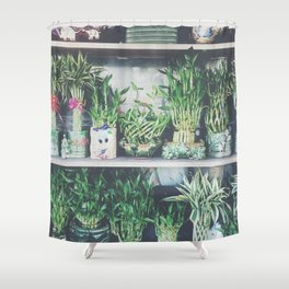 green bamboo plant in the vase pattern background Shower Curtain