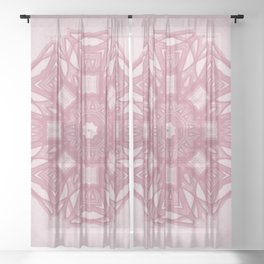 Distressed Light Pink Design Sheer Curtain