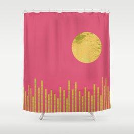 Yellow Moon Rising Shower Curtain