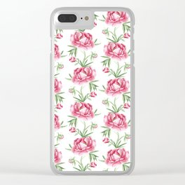 Vintage Peony Clear iPhone Case