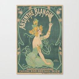 Absinthe Blanqui (1895) by Nover, Alcohol, Art Nouveau Poster Canvas Print