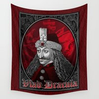 dracula Wall Tapestries featuring Vlad Dracula Gothic by Scott Jackson Monsterman Graphic