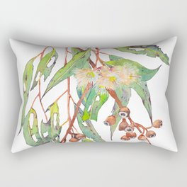 Watercolour eucalyptus tree branch with white flowers & gumnuts. Rectangular Pillow