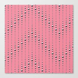 Studded Chevron Stripe on Coral Pink 1 Canvas Print