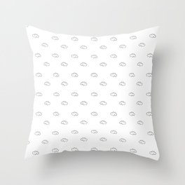 Background with drawings of small white clouds Throw Pillow