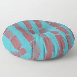 Red and Aqua Grid Brushstroke Pattern 2021 Color of the Year Passionate & September Skies Floor Pillow