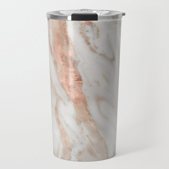 Rose Gold and White Marble 1 by mjsergi