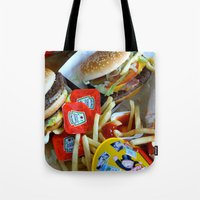 junk food Tote Bags featuring Junk Food by Renatta Maniski-Luke