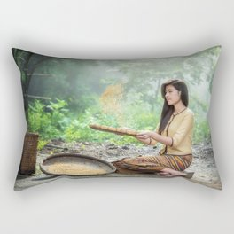 Asian Woman Sowing Rice Rectangular Pillow