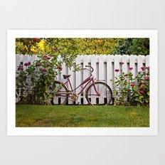 Bike with Fence & Flowers Art Print