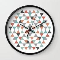 hexagon Wall Clocks featuring Hexagon by Pavel Saksin