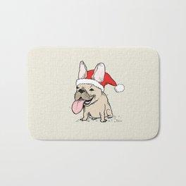 Frenchie Clause French Bulldog Santa Bath Mat