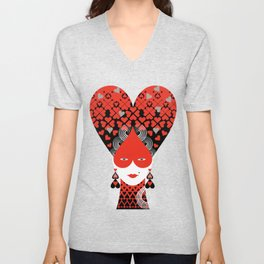 The queen of hearts Unisex V-Neck