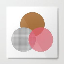 abstract circles - yellow pink grid Metal Print
