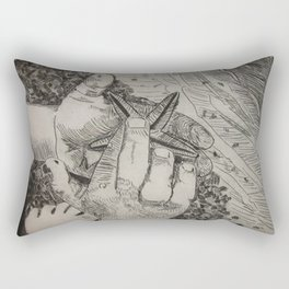 Touching the Pulse of the Gulf  (Boy and starfish at the Gulf beach) Rectangular Pillow