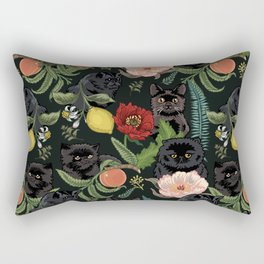 Botanical and Black Cats Rectangular Pillow