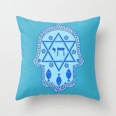 Hamsa for blessings, protection and strength - Turquoise Throw Pillow