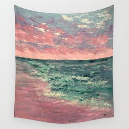 Pink Sunset on the Water Wall Tapestry