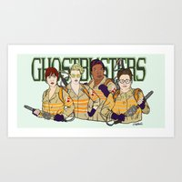 ghostbusters Art Prints featuring Ghostbusters by Hugo Maldonado