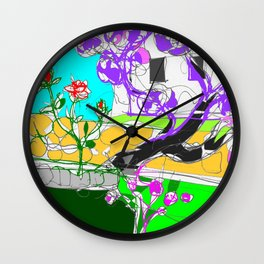 Jacaranda  time in Queensland, AUSTRALIA      by Kay Lipton Wall Clock