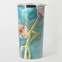 Blooms on Turquoise Travel Mug