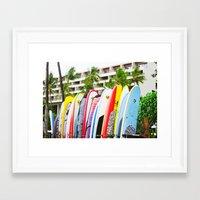 surfboard Framed Art Prints featuring SURFBOARD by Julia Jean Kennedy