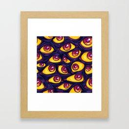 Wall of Eyes in Dark Purple Framed Art Print