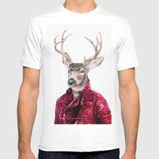 Deer In Leather White Mens Fitted Tee SMALL