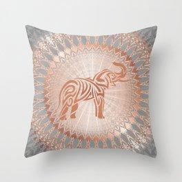 Rose Gold Gray Elephant Mandala Throw Pillow