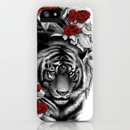 Tiger and Roses iPhone Case
