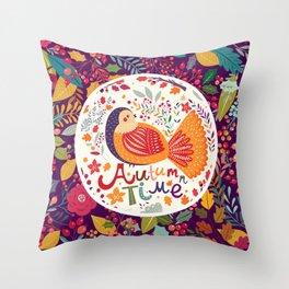 Bird in autumn forest Throw Pillow