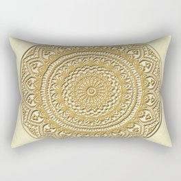 Golden Plate Mandala in 3D Rectangular Pillow