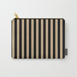 Tan Brown and Black Vertical Stripes Carry-All Pouch