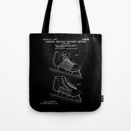 Hockey Skate Patent - Black Tote Bag