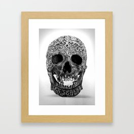 CARVED TIBETAN SKULL. IMAGE IS ENTIRELY MADE OF DOTS. Framed Art Print